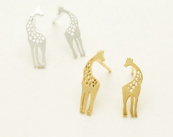 Rise Above with these Dainty & Chic Giraffe Stud Post Earrings in Choice of 18k Gold Plating, Silver Plating or Rose Gold Plating