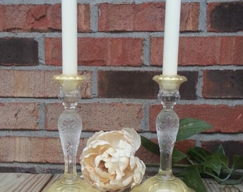 Ornate Gold Tinted Candle Holders