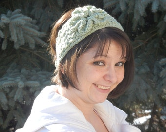Sage Green Crocheted Headband/Earwarmer with Flower READY TO SHIP Winter Headband Sports Band Indoor/Outdoor Wear Mommy and Me Headband