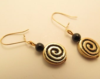 3882  -  Agate and Bronze Spirale Earrings
