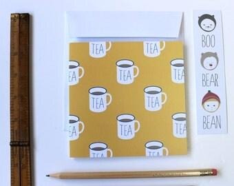 Tea, tea, tea - mugs of tea greeting card