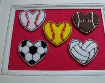 Sports heart felties, Football, Soccer, Baseball, Softball,Volleyball , Basketball , you choose Always precut