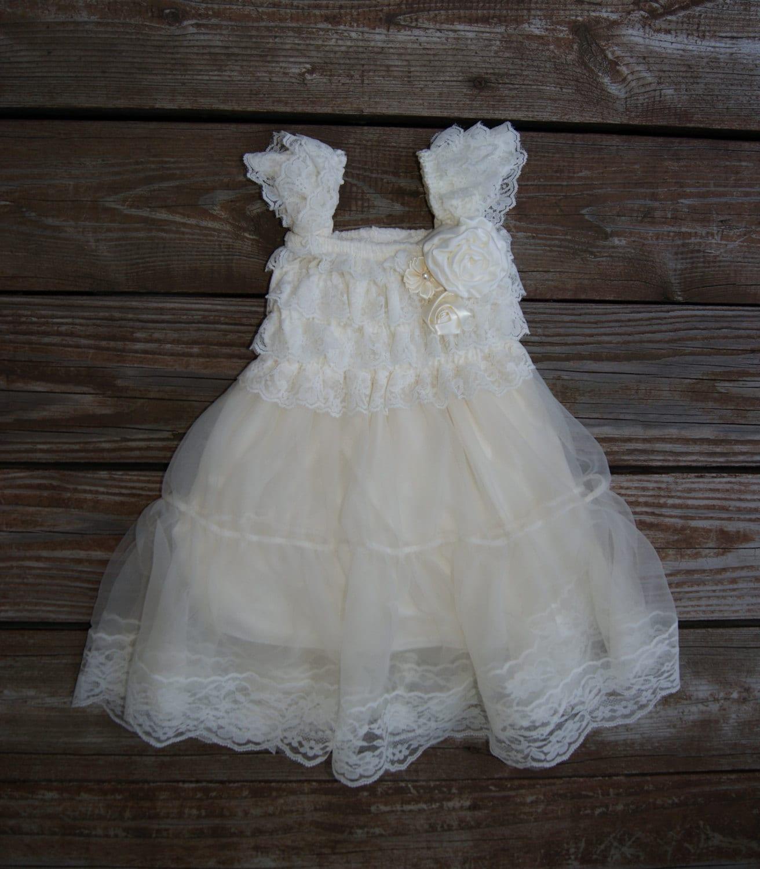 Lace ivory flower girl dress Rustic flowergirl dress Ivory