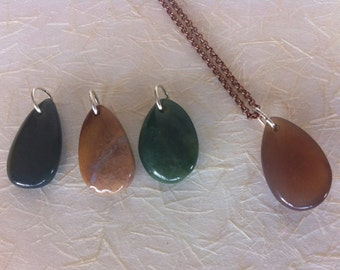 Copper Chain Necklace With Precious Teardrop Stones (4 stone choices)