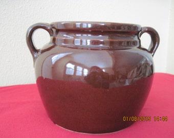 Brown stoneware beanpot Made in U.S.A.