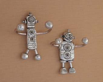 Pair of Decorative Robot Wall Hooks-Pewter and Copper- Set of 2 Great for kid's rooms, nurseries, entryways