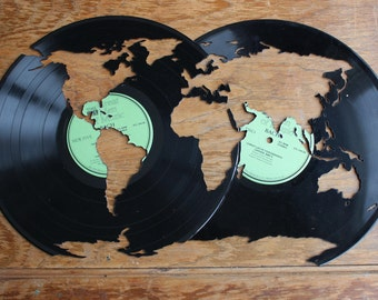 Wanderlust World Map // Globe Cut From A Vintage Vinyl Record