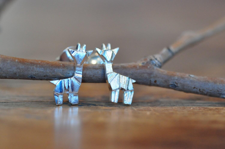Sterling Silver Origami Giraffe Earrings Silver Giraffe - photo#6