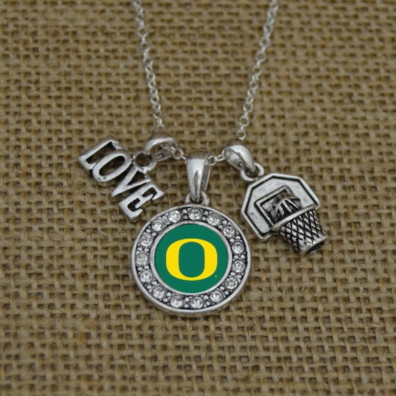 Oregon ducks 3 charm basketball necklace by shopcharmingcollect
