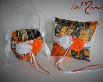 camo wedding flower girl basket wedding ring bearer pillow true timber mc2 camo orange - Orange Camo Wedding Rings