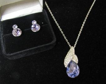 Vintage Swarovski Crystal Earrings, Dangle Necklace Set Demi Parure Original Box 18K RGP