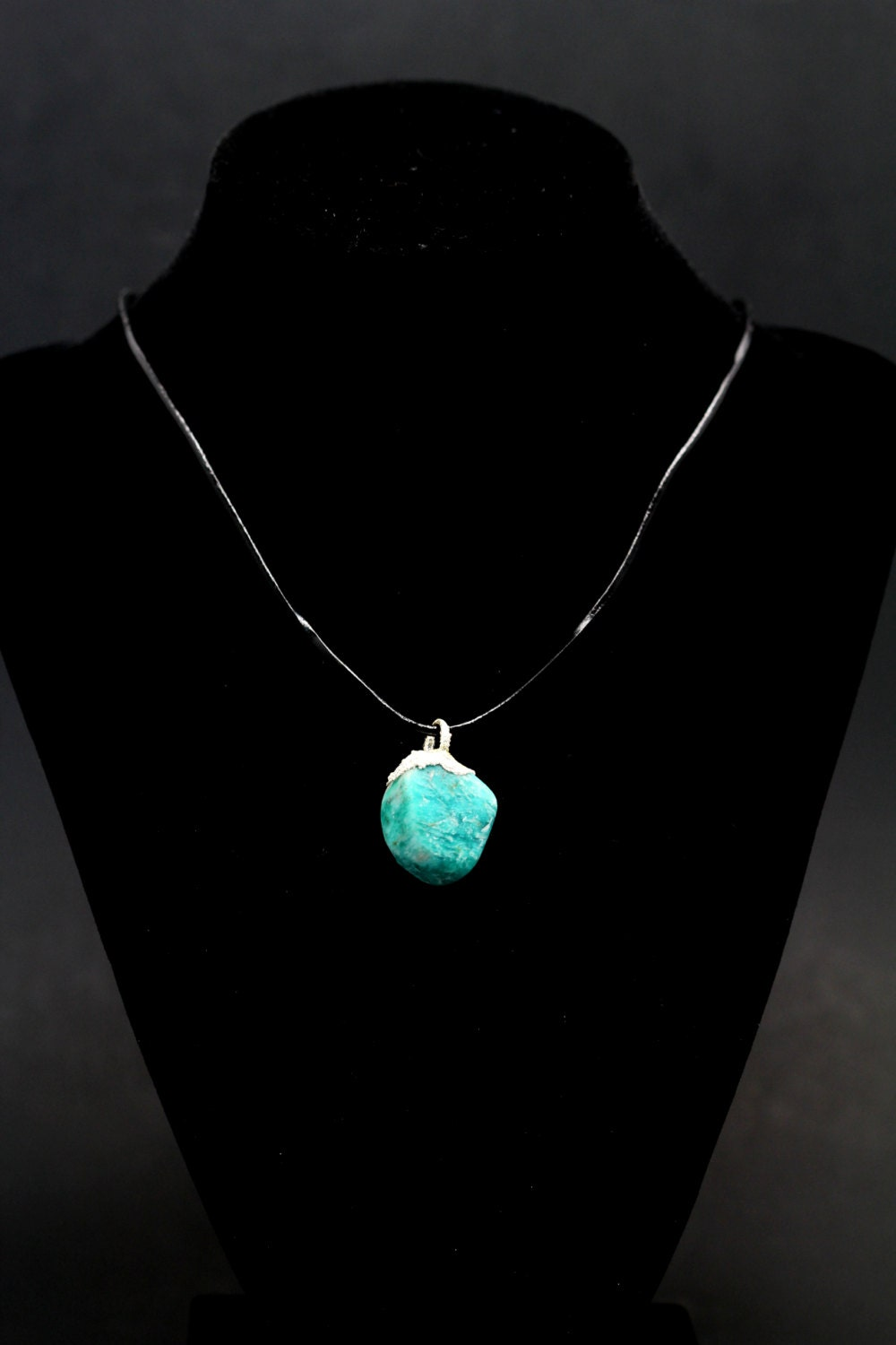 "AMAZONITE amazon stone crystal gem pendent necklace silver plated with free 18"" black leather cord from Lake George Colorado"