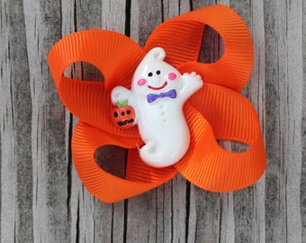 Halloween Ghost Ribbon Hair Bow Clips, Barrettes for girls toddlers tweens teens - Halloween Orange ribbon bow with Friendly Ghost resin