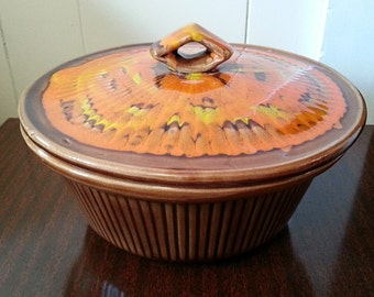 Vintage California Pottery 2.5 quart Red, Orange and Yellow Swirl Painted Casserole Dish