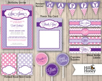 Printable Party Suite - Spa-Jama Slumber Party - Pink and Purple Polka Dots