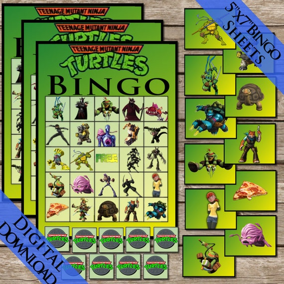 Ninja Turtles Bingo Digital Download Ninja Turtle Bingo