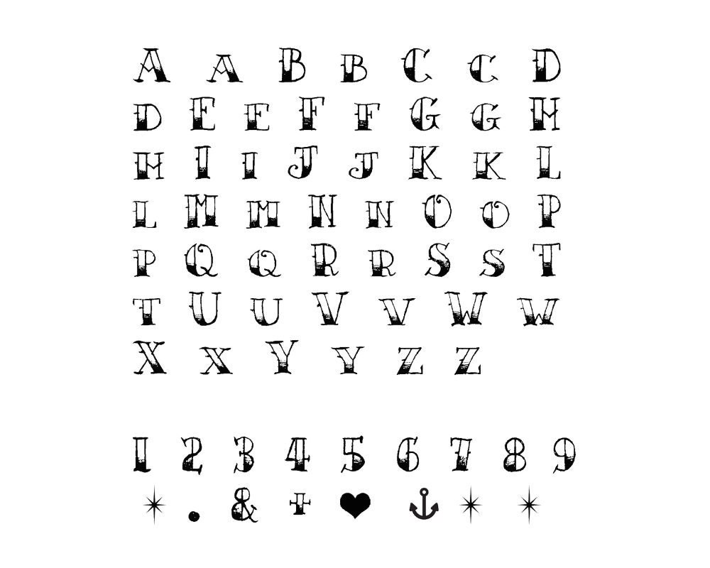 Sailor jerry temporary alphabet tattoo set of 2 vintage for Large letter temporary tattoos