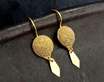 Gold Earrings, Drop Earrings, Granulation Earrings, Modern Earrings, Gold Vermeil
