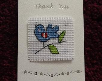 Lovely Handmade Cross Stitch THANK YOU Card