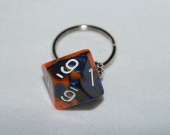 Marbled Orange and Blue D10 Keychain