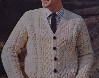Men's aran cable cardigan sizes 36 to 44 inch vintage knitting pattern pdf INSTANT download jumper pattern only pdf 1960s