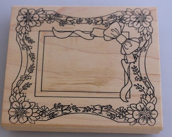 On sale! Vintage Holly Berry House Frame Stamp - Wood Stamp for Scrapbooking or Card Making