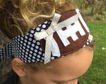 Football: Blue Dot Fabric Headband with Silver Dot Ribbon (Dallas Cowboy colors)