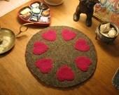 Purple Hearts Penny Rug, FAAP, OFG, HaFair
