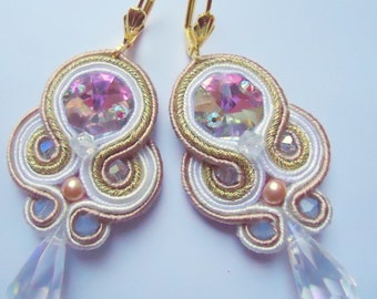 Soutache Earrings Cream - Gold