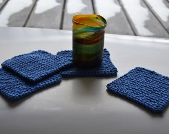 Set of 6 coasters, hand crafted coasters, knit coasters (knitted with 100% USA cotton yarn)
