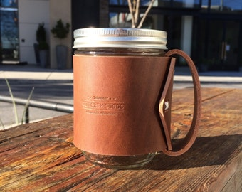 Mason Jar Leather Mug