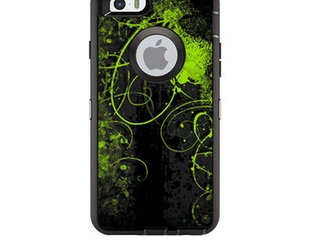 Skin Decal Wrap for OtterBox Defender/Commuter/Universe Apple iPhone 7 7+ 6 6+ 5C 5/5S Case Vinyl Cover Sticker Skins Green Distortion