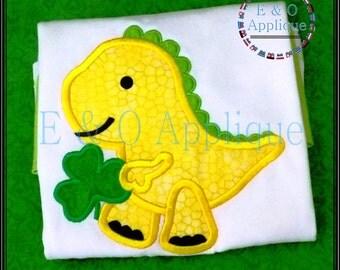 Dino St Pats Applique Design - Dino Clover Applique Design - Dino Applique Design - St Patrick's Day Applique
