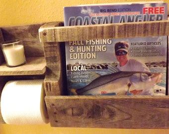 Reclaimed Wood Toilet Paper Holder w Candle Holder and Magazine Rack
