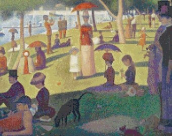 Cross Stitch Pattern of A Sunday Afternoon on the Island of La Grande Jatte by Georges Seurat, Instant Download