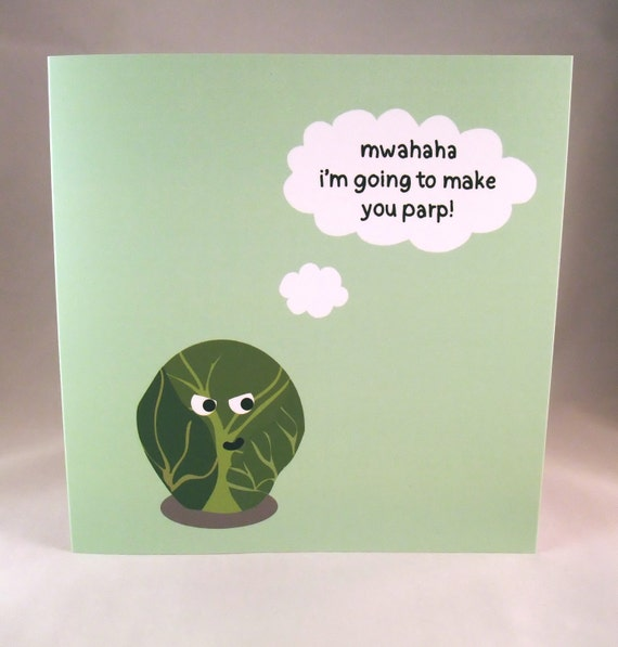 Brussels Sprout Fart Funny Christmas Greeting Card – Sprout Birthday Cards