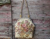 tapestry handbag tapestry purse clutch handmade bag tapestry bag carpet bag embroidered vintage floral brown pink sand free shipping
