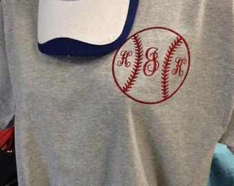 Glitter Baseball Monogram Shirt