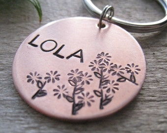 Hand Stamped Pet ID Tag - Personalized Pet/Dog Tag - Dog Collar Tag - Engraved Dog Tag -  Pet Tag - Copper Tag with Flowers