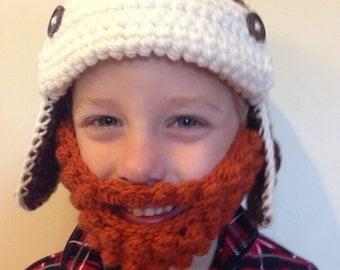 Aviator hat with detachable beard!
