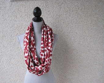Fabric scarf, Infinity scarf, tube scarf, eternity scarf, loop scarf, long scarf , Canada, Canadian flag, maple leaf, Remembrance Day