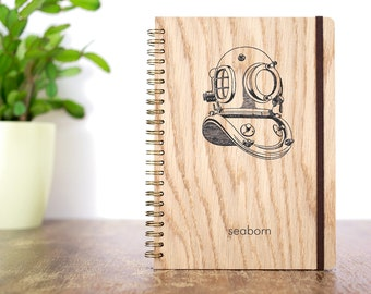 Custom Diving Book, Scuba Diving Logbook, Diver Helmet, Log Book, Diver Notebook, Wooden Journal, Diver Art, Sea Notebook, Sea Journal