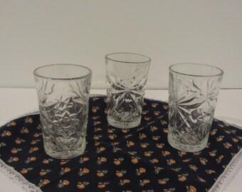 Set of 3 Juice Glasses EAPG Early American Prescut Star of David Pattern