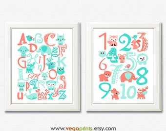 Aqua and coral animal Alphabet and numbers art print - UNFRAMED - aqua, coral, nursery wall art, kids room decor, 123, abc, safari animals