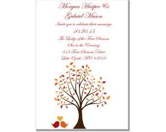 "Fall Wedding Invitation-Printable ""Fall"" DIY Wedding Invitations-INSTANT DOWNLOAD-Fall Wedding-Leaves, Autumn-Microsoft Word"