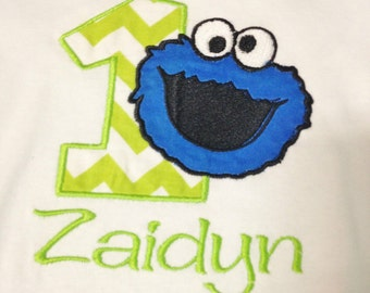 Cookie Monster Birthday Shirt or One Piece Bodysuit - Embroidered with Name and Number - Lime Green Chevron