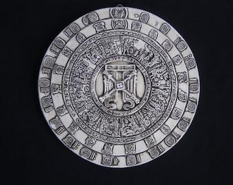 Vintage Wall Hanging Chalkware Aztec Mayan Sculpture Maya Ancient Plaque