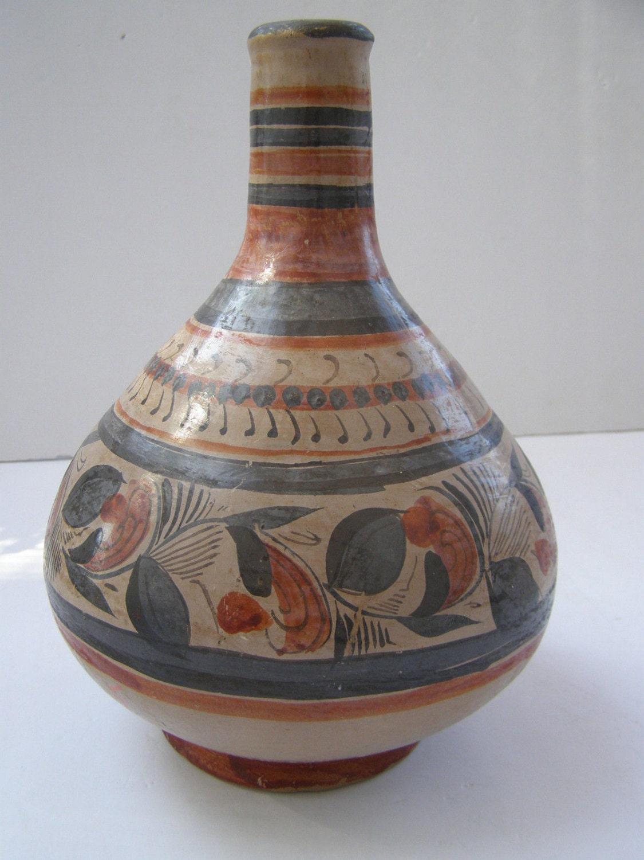 Marvelous Vintage Mexican Folk Art Pottery Colorful Vase