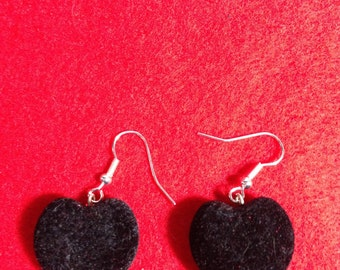 Black Heart with flocking earrings