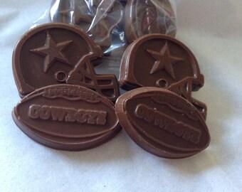 24 Pieces Dallas Cowboys Chocolate Candies Helmets Footballs bagged blue silver ribbons
